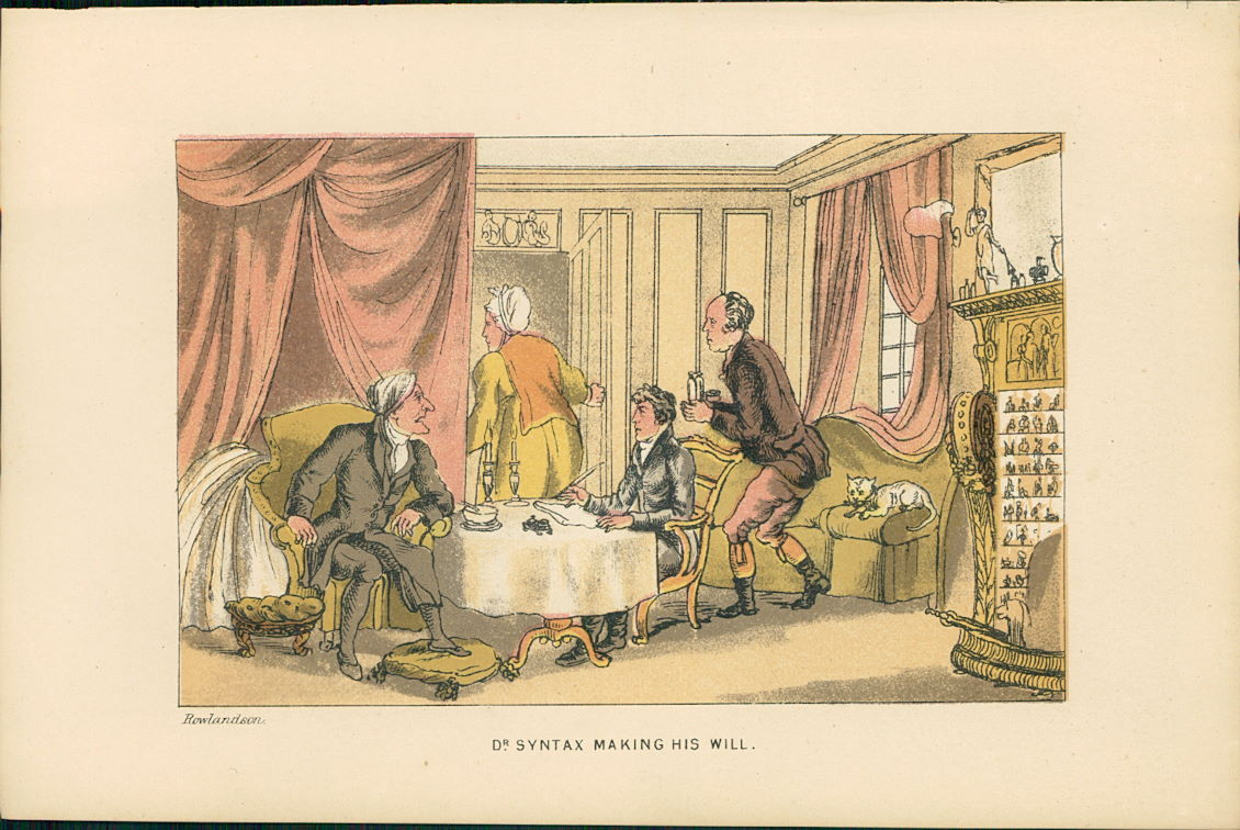 Rowlandson, Thomas: Lithographie : Dr. Syntax Making His Will. (Illustration zu