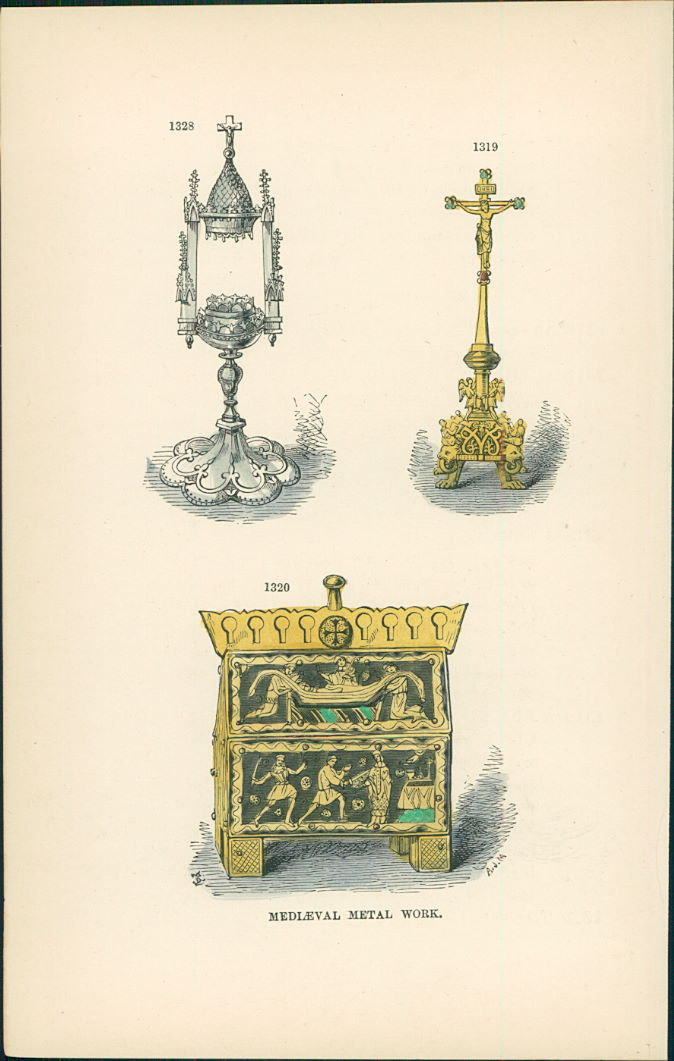 Lithographie : Kruzifix mit Lapislazuli und Zirkonen - St. Thomas A