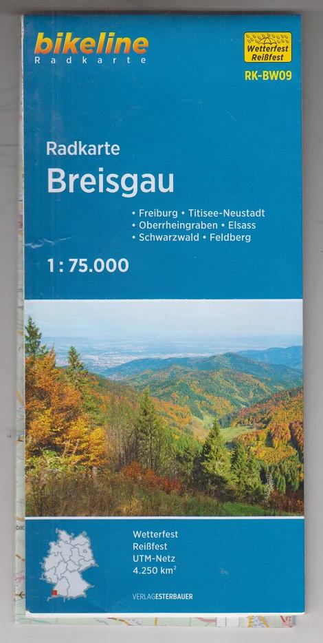 Bikeline Radkarte Breisgau. Freiburg, Elsass, Schwarzwald, Feldberg. Landkarte / Karte.
