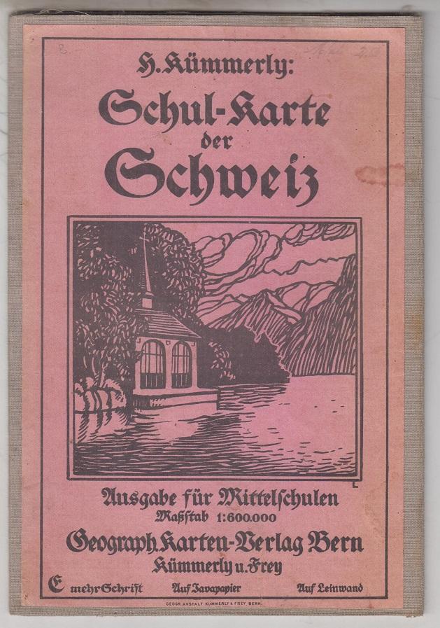 Kümmerly, H. Schulkarte der Schweiz. Ausgabe für Mittelschulen. Kolorierte Landkarte / Karte.