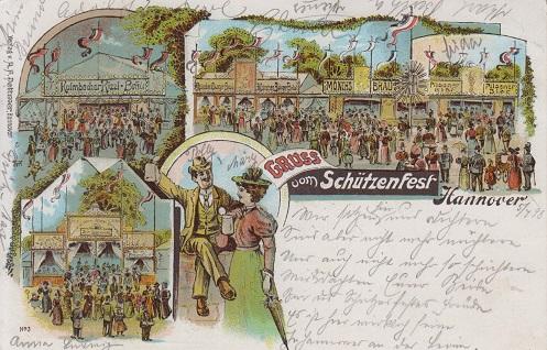 Schützenfest Hannover, Litho AK, 1898.
