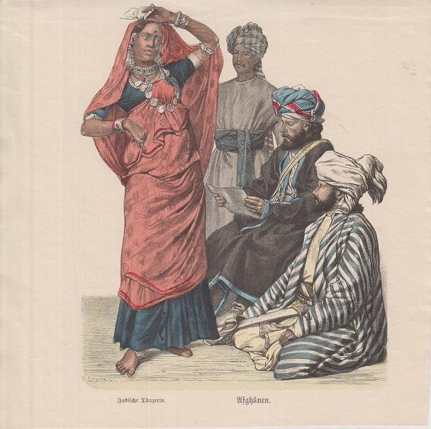 Orig. kolor. Holzstich: Afghanen m. Indischer Tänzerin aus Münchener Bilderbogen: Blatt Nr. 1174