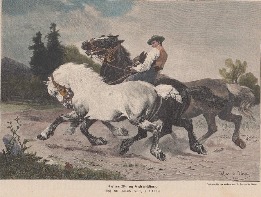 kol. Holzstich - Auf dem Ritt zur Preisverteilung ( Pferde Roß Kaltblüter ) Holzstich n. .e Gemälde v. J. v. Blaas
