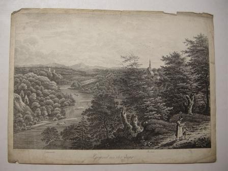 """Gegend an der Isar - München Lithographie von J. A. Sedlmayr aus """"Ansichten des bayrischen Hochlandes"""""""