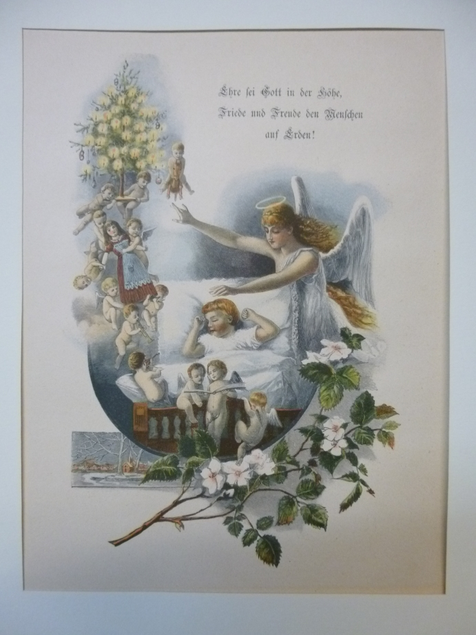 Weihnachten heilige Nacht Engel Christkind Original Holzstich