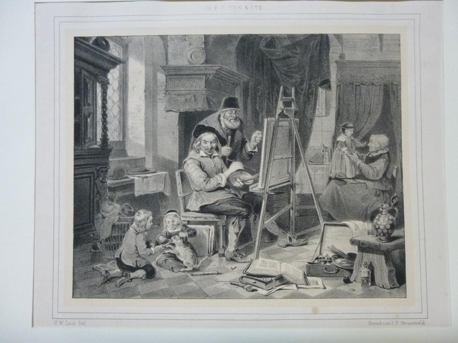 H.F.C. Ten Kate Holländischer Maler Original Lithographie H.W. Last del. / gedr. bei I.D. Steuerwald