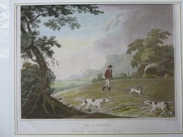 Scene in Somersetshire - Jagd mit Hunden - Aquatinta - Partridge shooting with Pointers