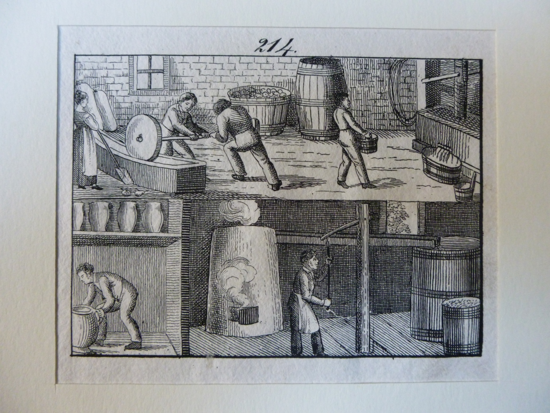 Wein - Cider u. Essig Essigbereitung alter Holzstich