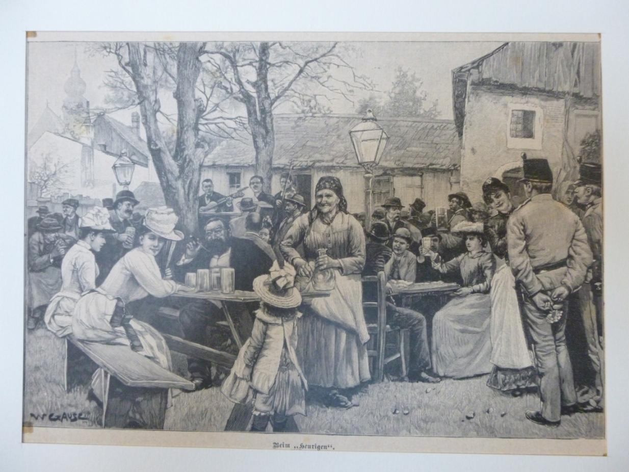 """Wein - Beim Heurigen Holzstich nach einer """"Originalzeichnung von W. Gause"""","""