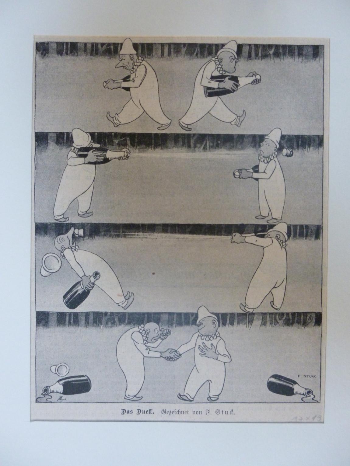 Wein - Das Duell - lustige Illustration gezeichnet v. F. Stuck