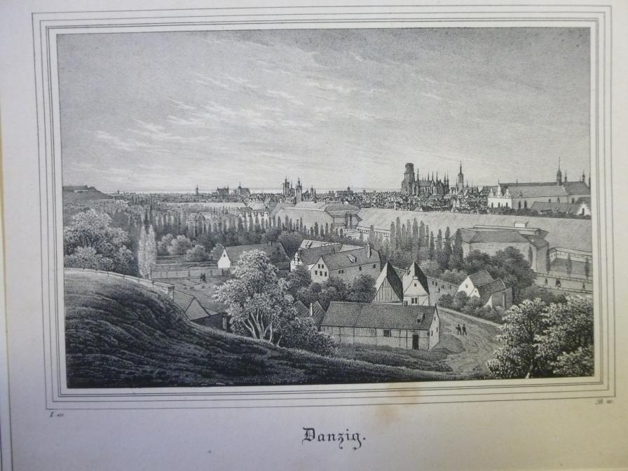 Lithographie Danzig Gesamtansicht von der Anhöhe