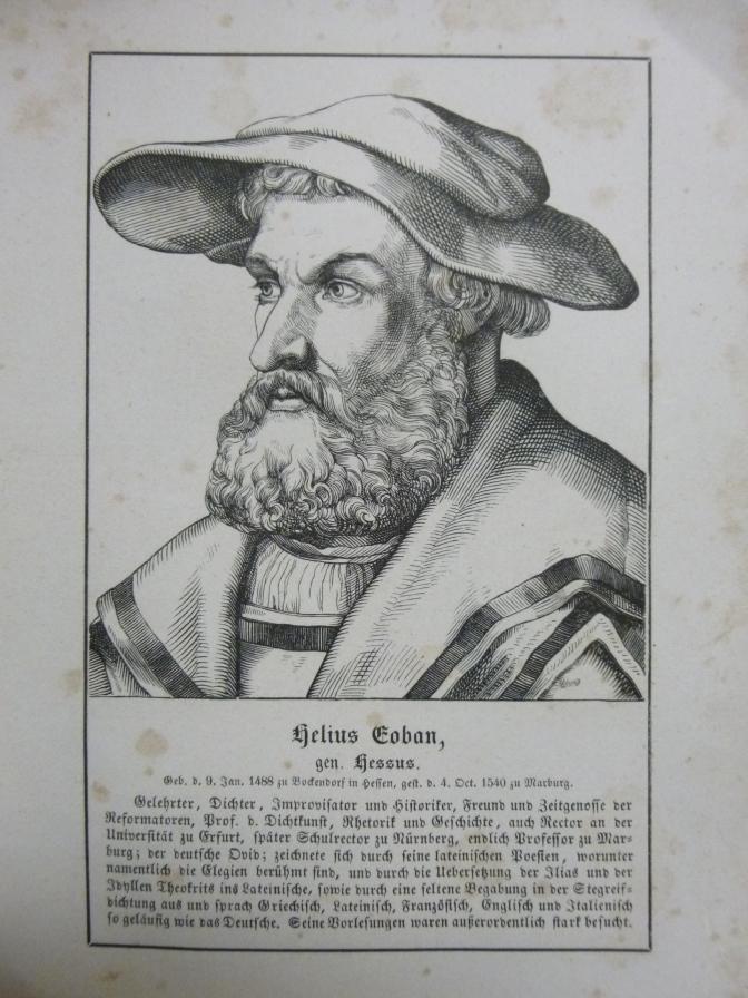 orig. Holzstich Portrait Helius Eoban gen. Hessus 1857 (1488–1540), Gelehrter, Dichter, Historiker