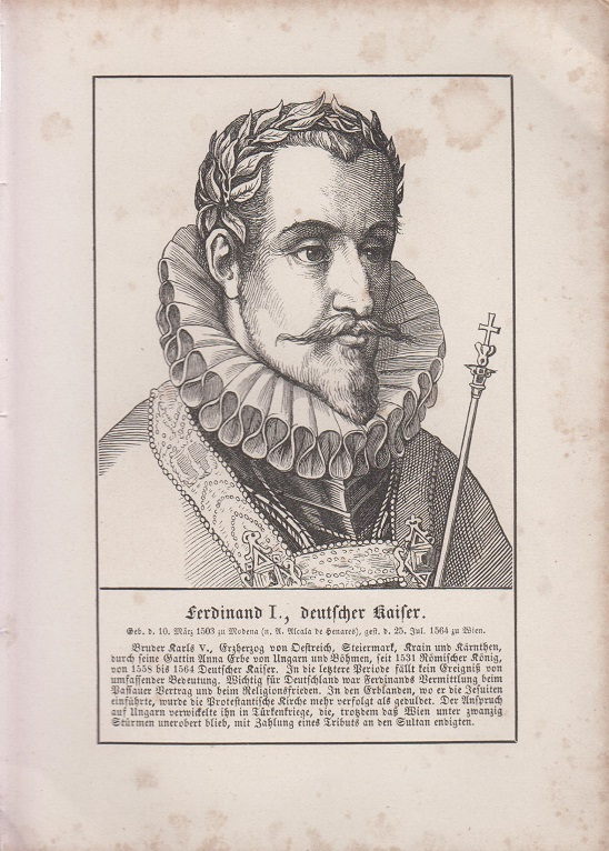orig. Holzstich Portrait Ferdinand I., deutscher Kaiser 1857