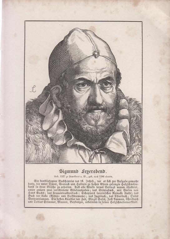 orig. Holzstich Portrait Sigmund feyerabend 1857