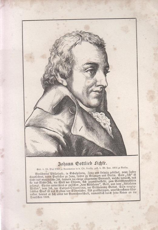 orig. Holzstich Portrait Johann Gottlieb Fichte 1857