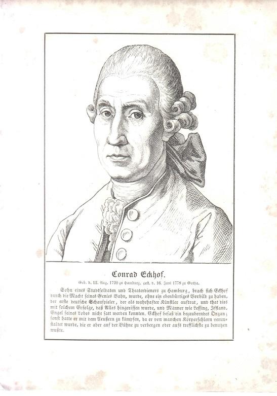orig. Holzstich Portrait Conrad Eckhof 1857