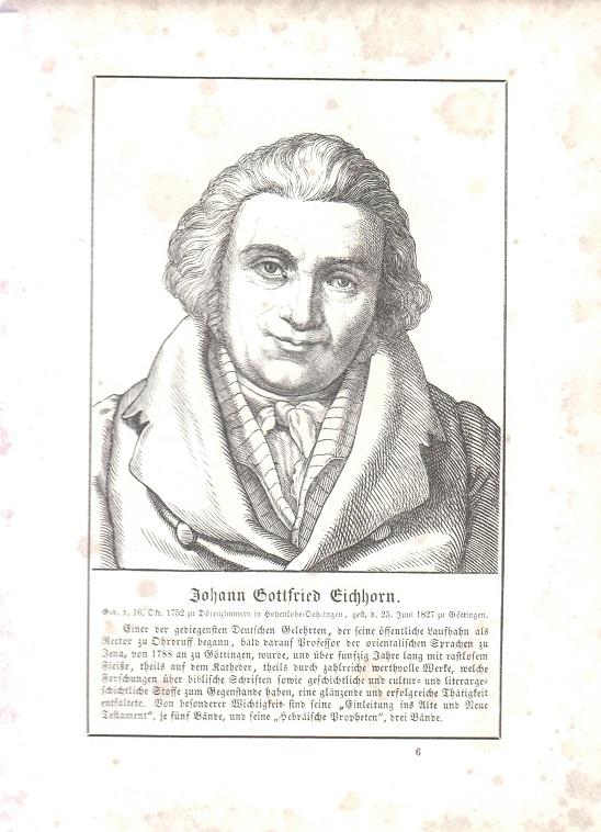 orig. Holzstich Portrait Johann Gottfried Eichhorn 1857