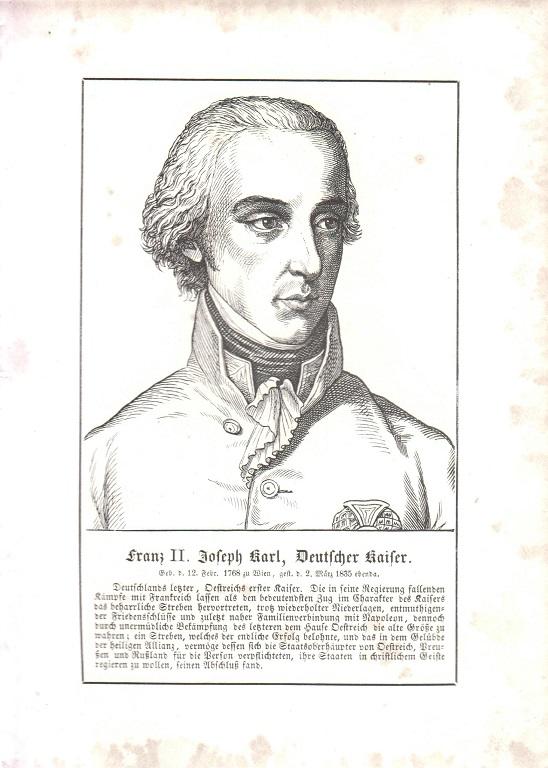 orig. Holzstich Portrait Franz II. Joseph Karl 1857 Deutscher Kaiser