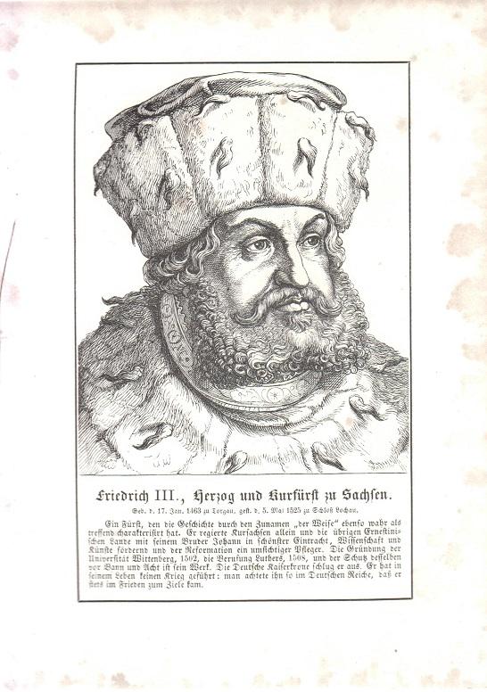 orig. Holzstich Portrait Friedrich III. 1857 Herzog und Kurfürst zu Sachsen