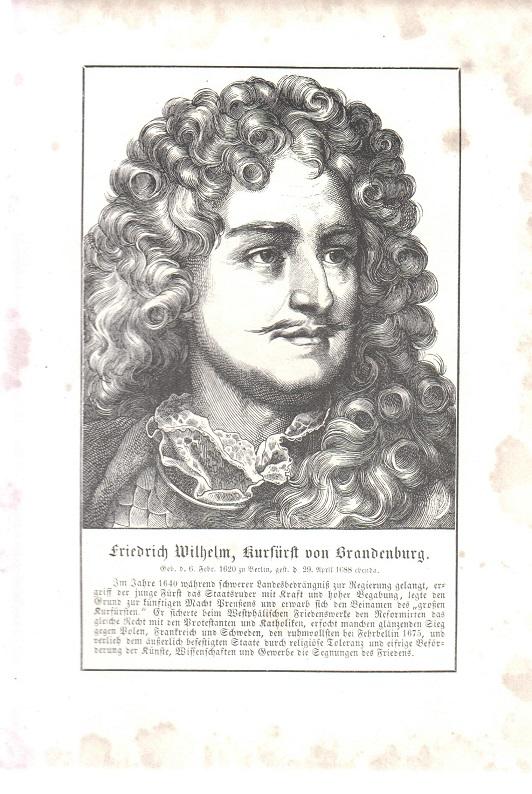 orig. Holzstich Portrait Friedrich Willhelm 1857 Kurfürst von Brandenburg