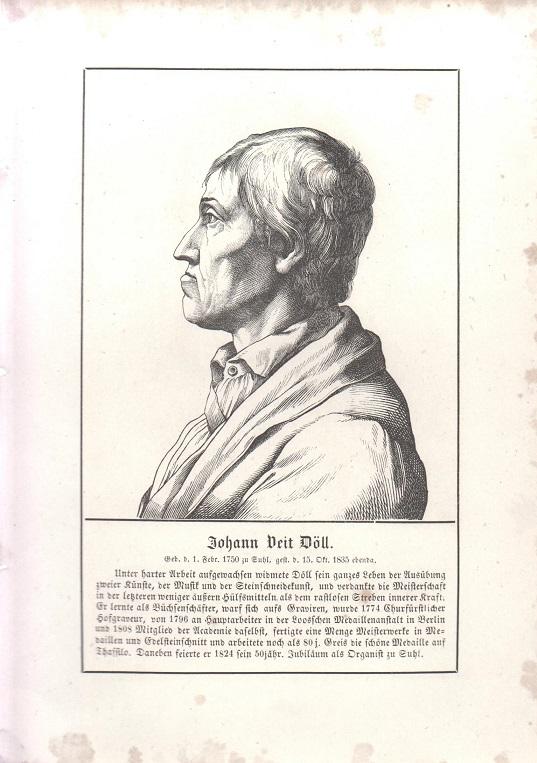 orig. Holzstich Portrait Johann Veit Döll 1857