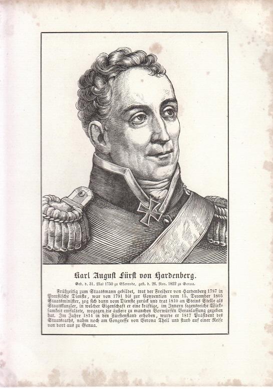 orig. Holzstich Portrait Karl August 1857 Fürst von Hardenberg