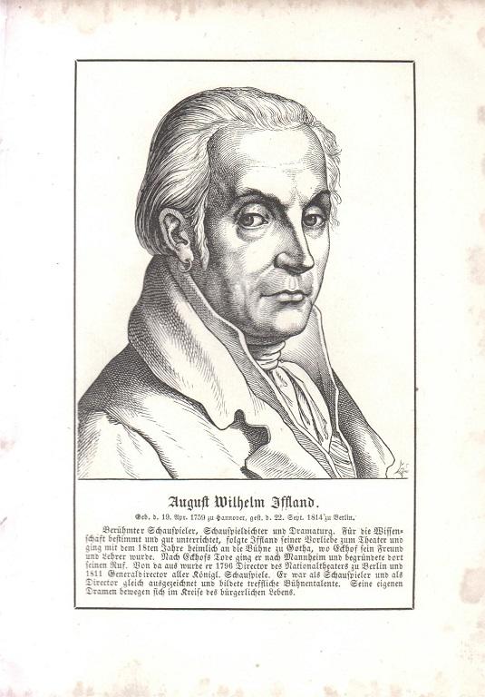 orig. Holzstich Portrait August Wilhelm Iffland 1857