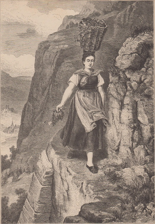 Wein - In der Weinlese am Rhein Holzstich Nach einem Oelgemälde auf Holz gezeichnet von T. F. Engel