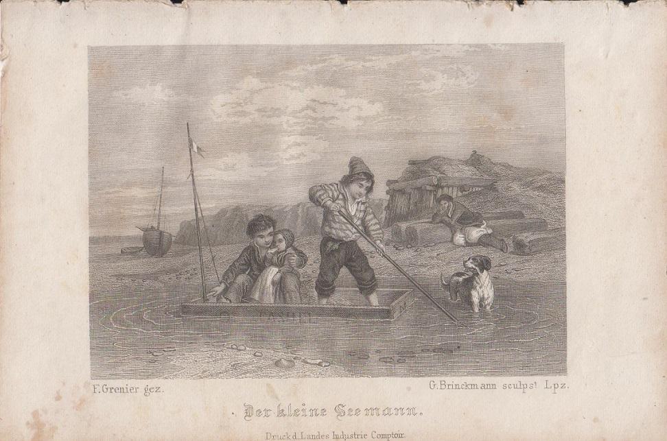 Der kleine Seemann Orig Stahlstich F. Grenier gez. & G. Brinckmann sculps. Lpz.