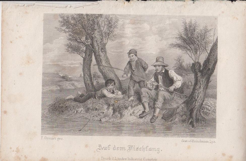 Auf dem Fischfang Orig Stahlstich F. Grenier gez. & gest. v. G. Brinckmann Lpz.
