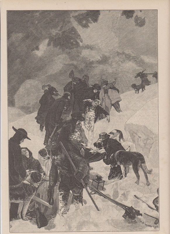 orig. Holzstich Die Samariter des großen St. Bernhards - Hunde Nach dem Gemälde von Ernst Leuenberger