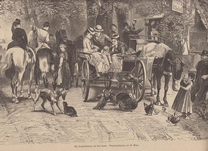 orig. Holzstich Ein Sommersonntag auf dem Lande - Kutschen und Pferdewagen Originalzeichnung von G. Marr