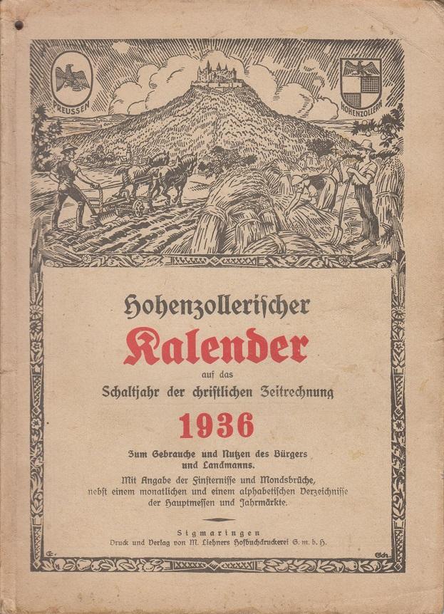 Hohenzollerischer Kalender auf das Schaltjahr der christlichen Zeitrechnung 1936