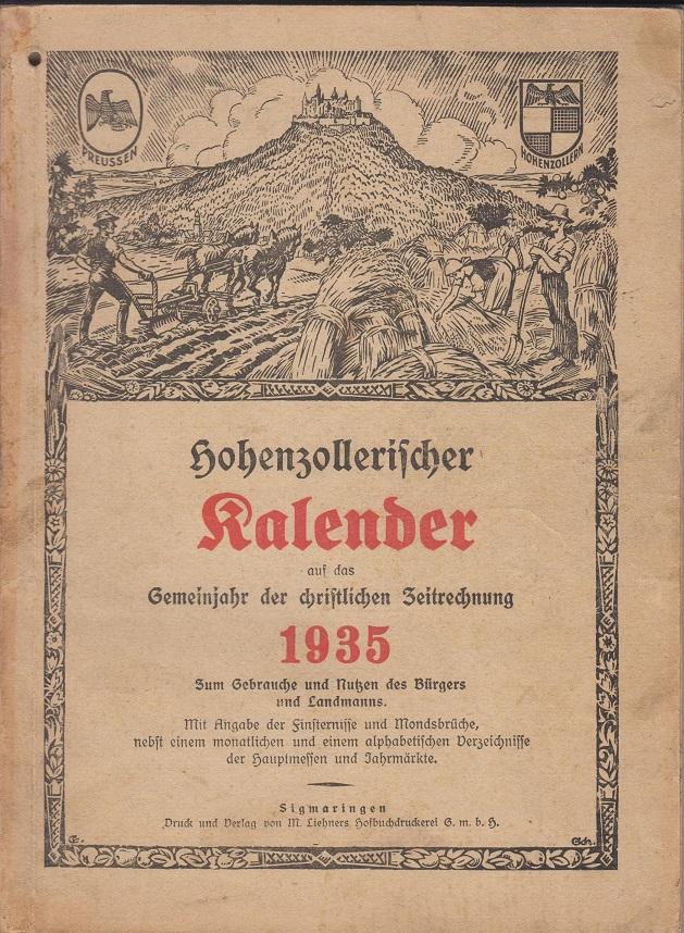 Hohenzollerischer Kalender auf das Schaltjahr der christlichen Zeitrechnung 1935