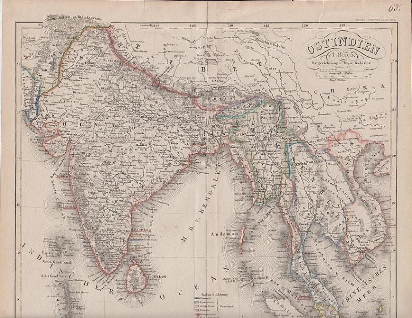 orig. Holzstich Ostindien - Ostindien Bezeichnung von Major Radefeld