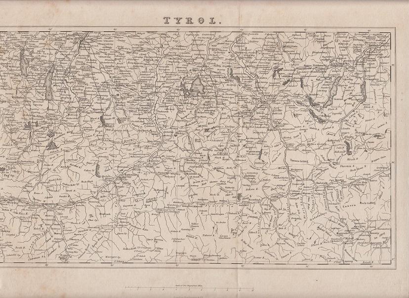 orig. Holzstich Tyrol -Landkarte London, Tombleson & C.