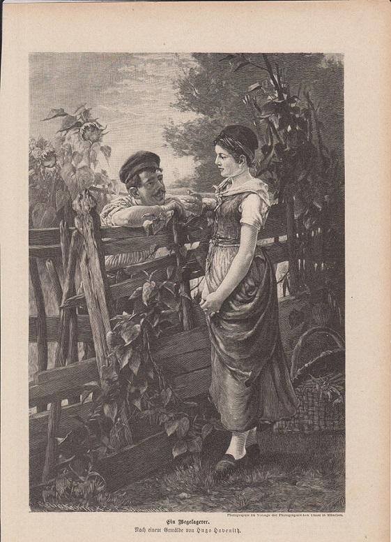 orig. Holzstich Ein Wegelagerer - Gärtner Nach dem Gemälde von Hugo Havenith