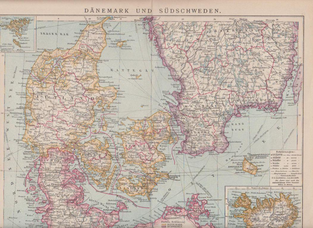 Orig Holzstich Dänemark und Südschweden Karte - Dänemark