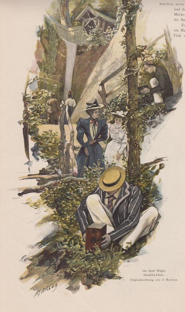 Org. Holzstich Großbritannien - Die Insel Wight. Shanklin Chine Originalzeichnung von O. Marcus