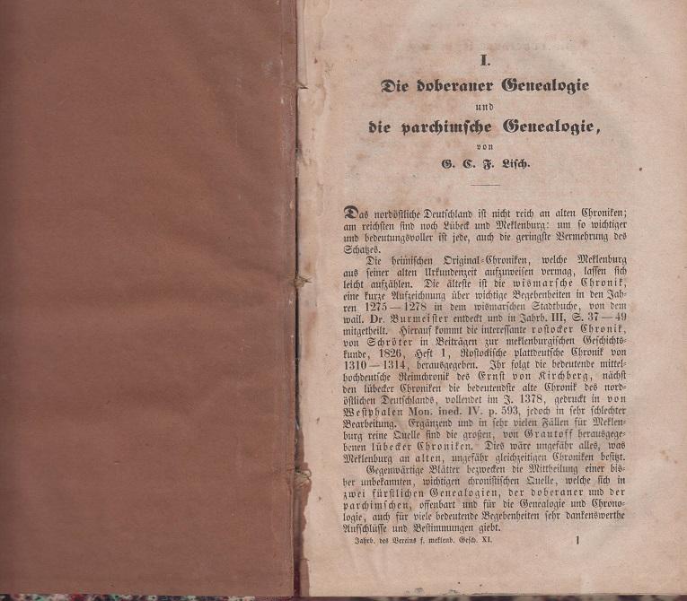 Lisch, G. C. F. Die doberaner Genealogie und die parlamentarische Genealogie