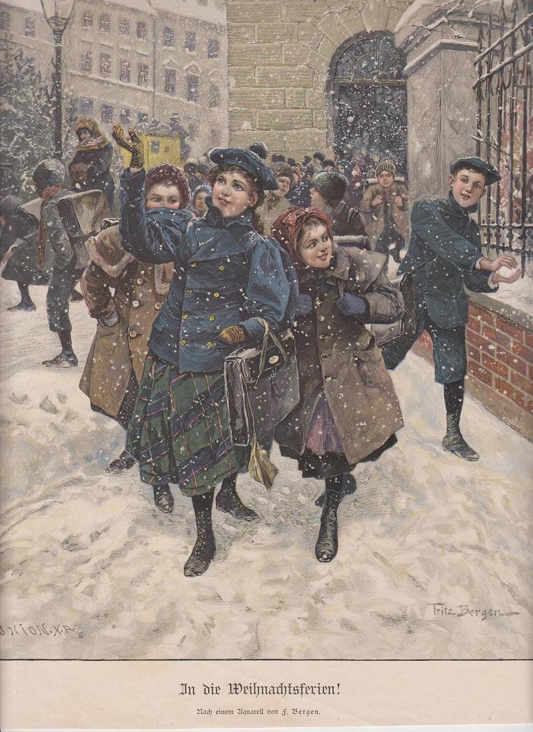 orig. Holzstich In die Weihnachtsferien - Schule (farbig) Nach einem Gemälde F. Bergen