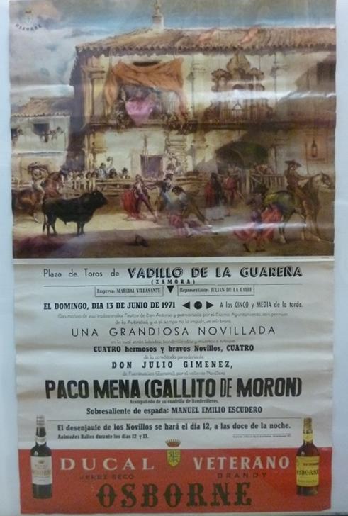 Toros Vadillo de la Guarena Zamora original Plakat Stierkampf 1971 13. Junio 1971