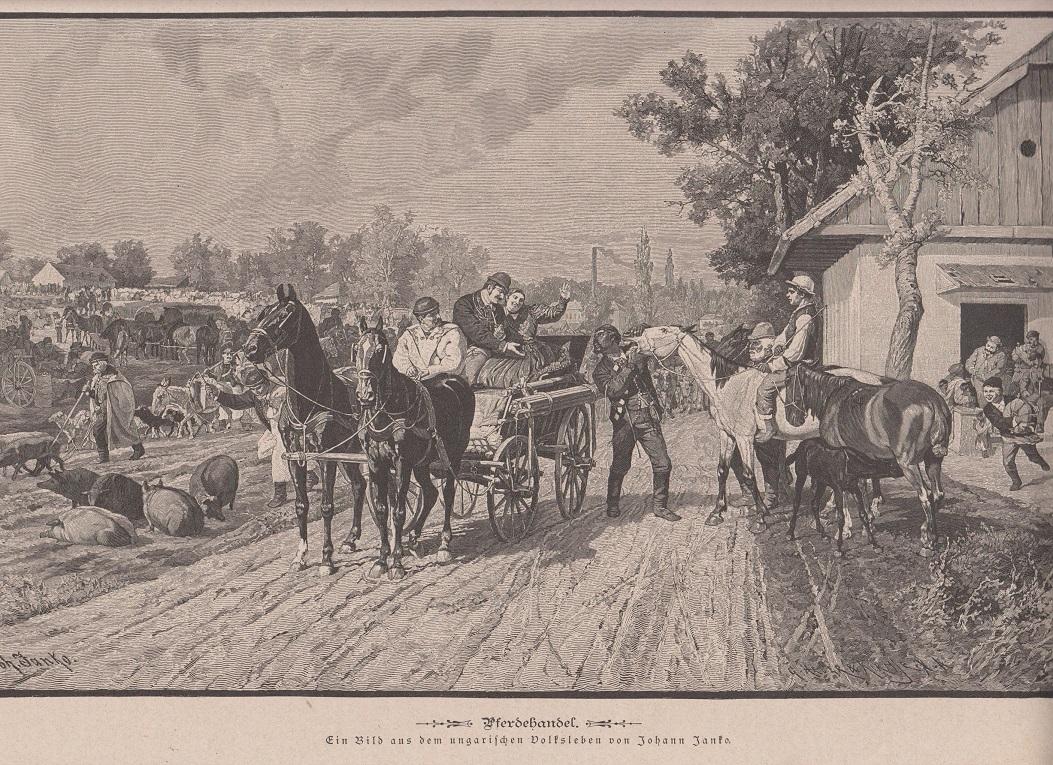 Orig. Holzstich Pferdemarkt - Pferdehandel Gemalt von Johann Janko
