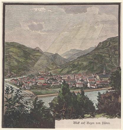 Orig. kolorierter Holzstich - Blick auf Brozen von Süden.