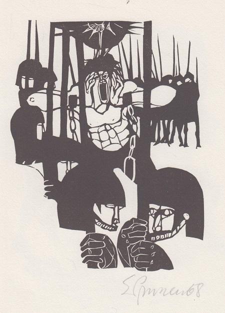 """Linolschnitt zu Francois Villon """"Die Ballade vom guten und vom schlechten Lebenswandel"""",handsigniert Original-Grafik. Doppelblatt mit Beitext. Auflage : -- / --"""