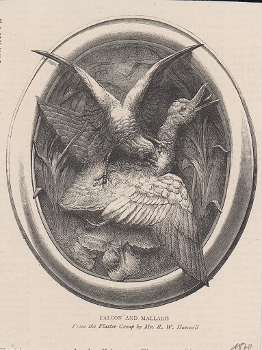 Orig. Holzstich: Falcon and Mallard. From the Plaster Group by Mr. R. W. Hanwell.