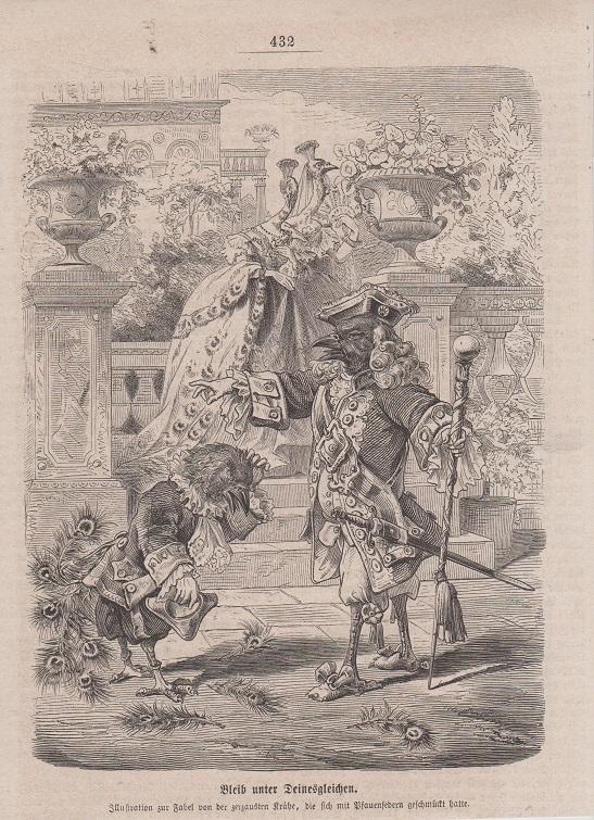 Orig. Holzstich: Bleib unter Deinesgleichen. Illustration zur Fabel von der zerzausten Krähe, die sich mit Pfauenfedern geschmückt hatte.
