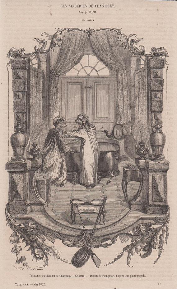 Orig. Holzstich: Peintures du chateau de Chantilly. Le Bain. Dessin de Foulquier.