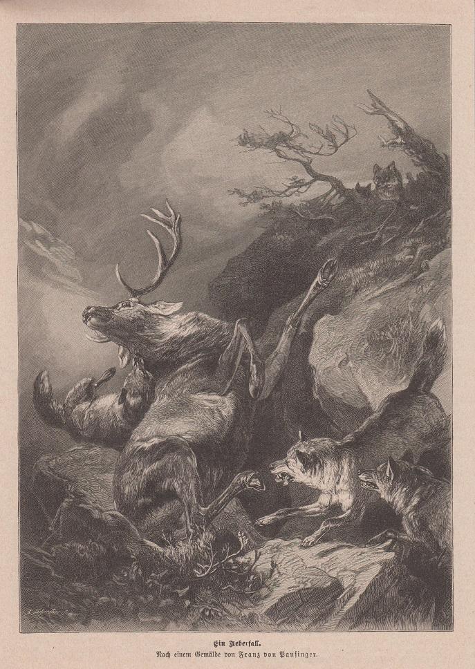 Orig. Holzstich: Ein Ueberfall. Nach einem Gemälde von Franz von Pausinger.