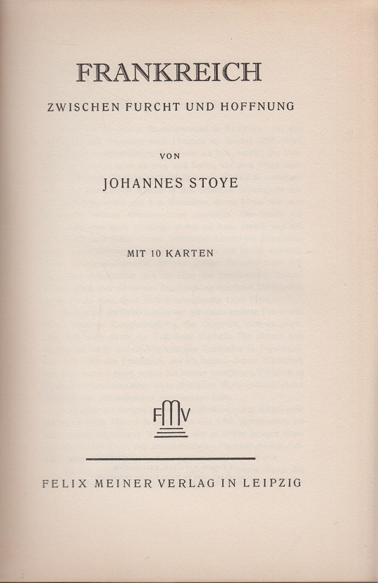 Johannes, Stoye Frankreich zwischen Furcht und Hoffnung.